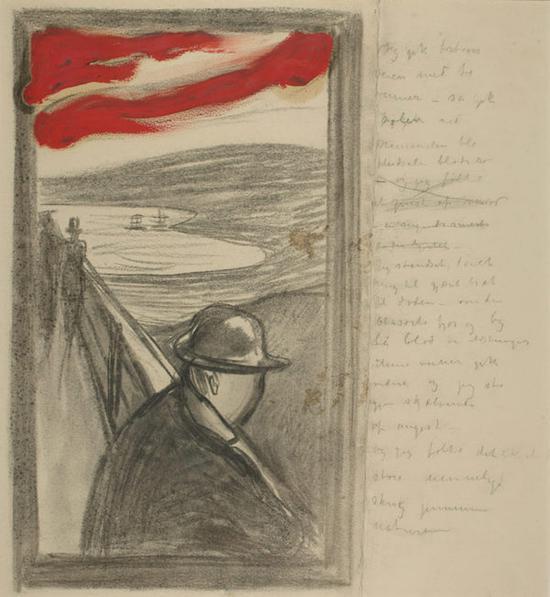 爱德华・蒙克,《绝望》,速写,作于1892年。