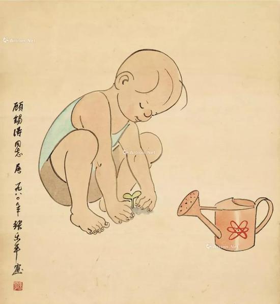1980年作 三毛植树 纸本 彩墨成交价5.52万