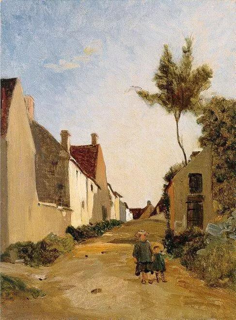 巴齐耶《乡村街道》,布面油画,1865年