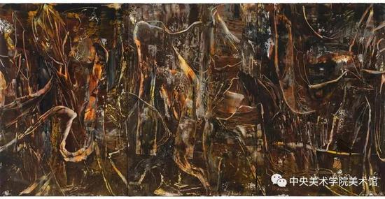 刘商英,《胡杨与沙109号》布面油画 240X480cm 2017