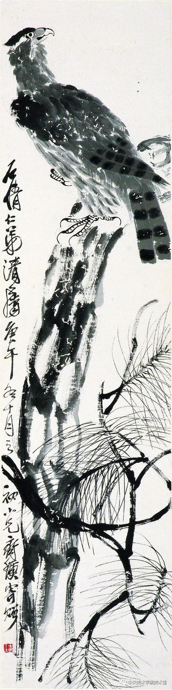 齐白石 松鹰 纸本墨笔 137×35cm 1930 中央美院美术馆藏