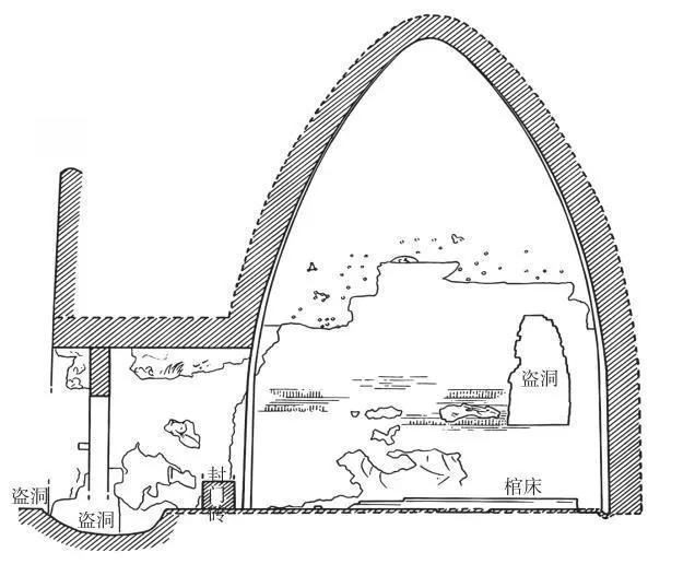 ▲甬道及墓室剖视面