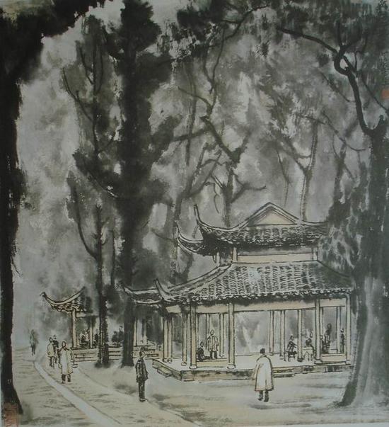 李可染,《灵隐两亭》,45x41cm,1956年