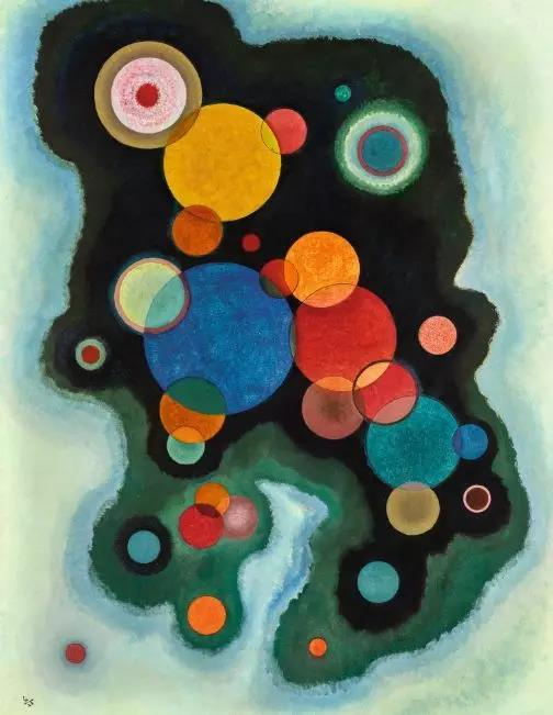 瓦西里·康定斯基,《深层脉动》,布面油画,1928年作
