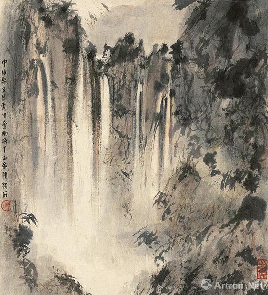 傅抱石 观瀑图(局部)