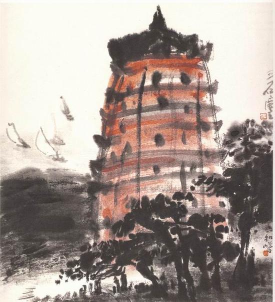 曾宓,《六和塔》,40x35cm,1982年