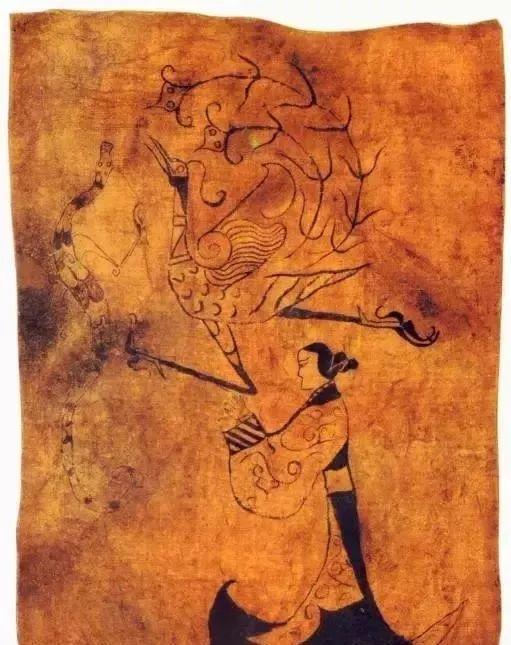 ▲战国 《人物龙凤帛画》 湖南省博物馆藏