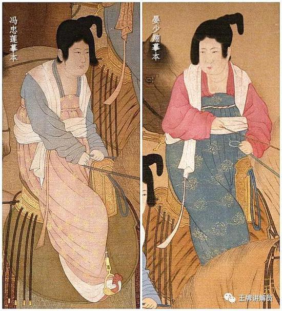 从冯忠莲和晏少翔的摹本可以看出,两位贵妇的服装使用了大量金线,贵气冲天