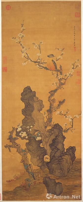 明代陈洪绶,梅花山鸟,台北故宫收藏
