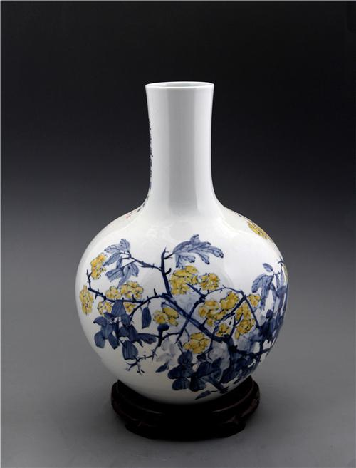 王纯祥《千猫瓶》天球瓶·青花瓷招财猫瓶之二