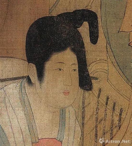 《虢国夫人游春图》中梳堕马髻的女性之二