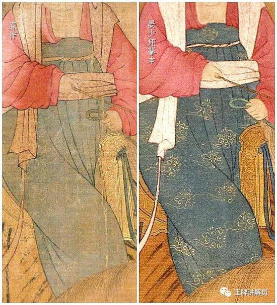 也许画家觉得,凭借这样的壮丽和精细,才足以体现虢国夫人的奢侈,以及权势。