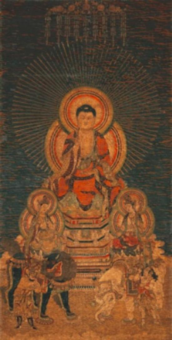 刺绣释迦三尊像