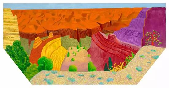 David Hockney, Grand Canyon II, 2017, Acrylic on canvas, 48 × 96″(hexagonal) ? David Hockney, photograph by Richard Schmidt