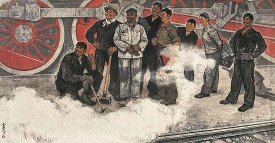 卢沉 《机车大夫》 135×269cm 纸本设色 1964年 北京画院藏