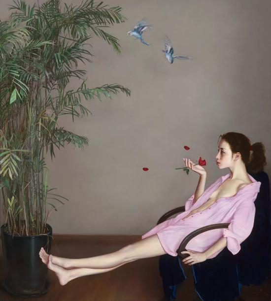 红玫瑰 布面油画 200×180cm 2015-2018年
