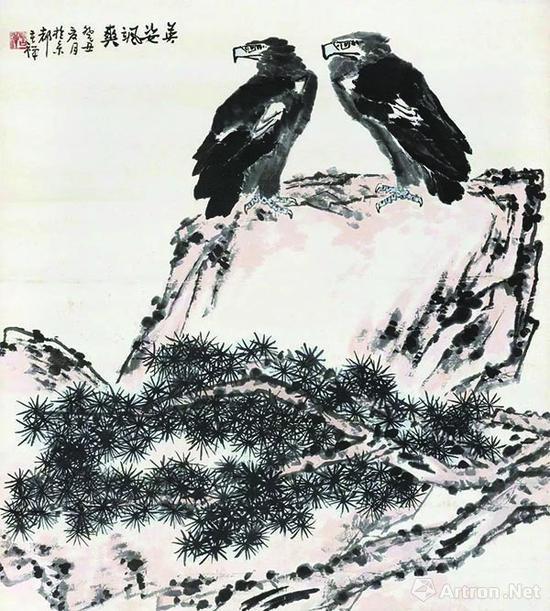 李苦禅《英姿飒爽》立轴,成交价1120万元(2010年秋拍)