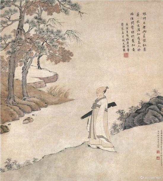 (明)文从简 携琴图 纸本设色纵62.5厘米 横56.4厘米 上海博物馆藏