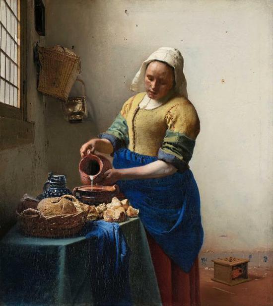 维米尔,《倒牛奶的女仆》,1660