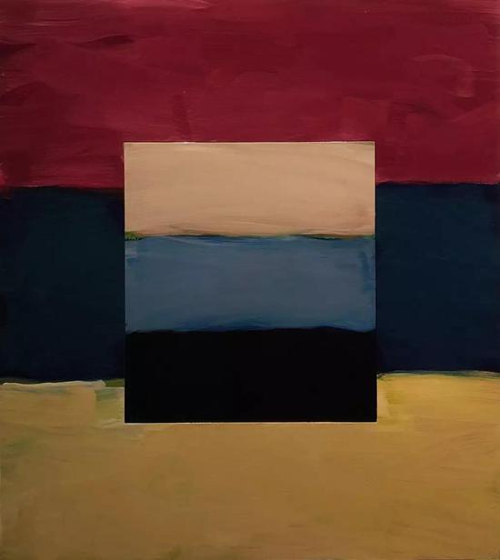 肖恩·斯库利 《窗-淡蓝色》 铝板油画 216cm×190cm 2017