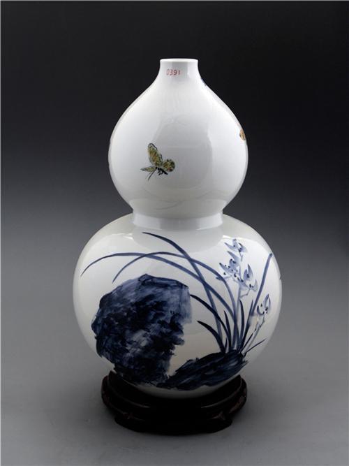 王纯祥《千猫瓶》葫芦瓶·青花瓷招财猫瓶之二