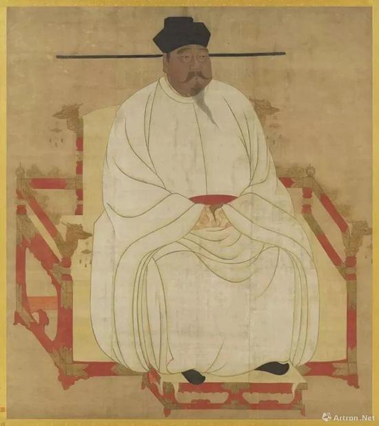 (传)王霭《宋太祖坐像》绢本、设色,纵191cm横:169.7cm,现藏台北故宫博物院