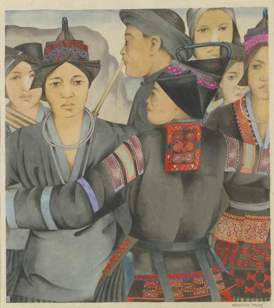 厐薰琹,《苗族之舞》,纸本墨彩,34.5×29.8cm,1949,中央美术学院人文学院