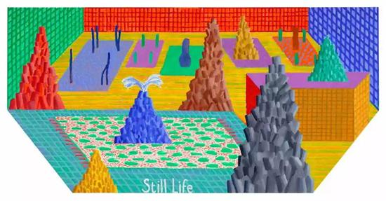 David Hockney, Still Life, 2017, Acrylic on canvas, 48 × 96″(hexagonal) ? David Hockney, photograph by Richard Schmidt