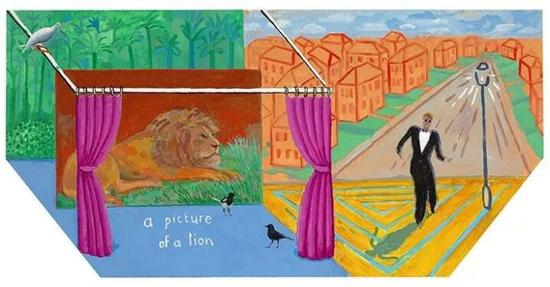 David Hockney,A Picture of a Lion, 2017, Acrylic on canvas, 48 × 96″(hexagonal) ? David Hockney, photograph by Richard Schmidt