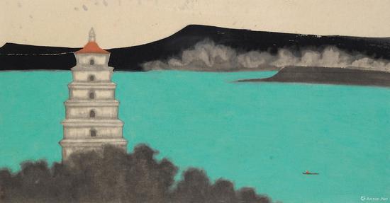 黄丹 湖上轻舟 镜心 设色纸本