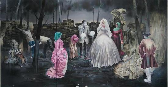 王雷 《关于婚姻》 布面油画 3×1.6m 2017