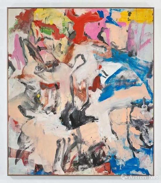 ▲威廉·德·库宁抽象绘画《无题XII》