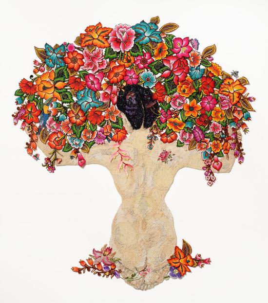 路易丝·萨克斯顿以里维拉为灵感的艺术作品《裸体和花朵》