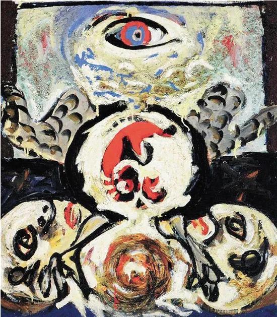 杰克逊·波洛克 鸟 70.5×61.6cm 布面油彩和沙子1938-1941 纽约现代艺术博物馆