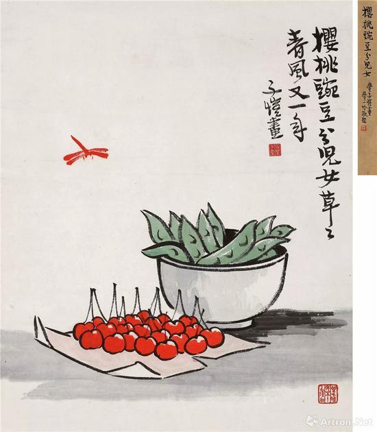附图5。丰子恺 樱桃豌豆分儿女 立轴,,尺幅38×32cm(2018年保利115万元成交)