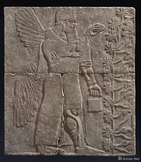 亚述双翼神灵石刻浮雕 阿淑尔纳西尔帕二世时期,约公元前883-859年