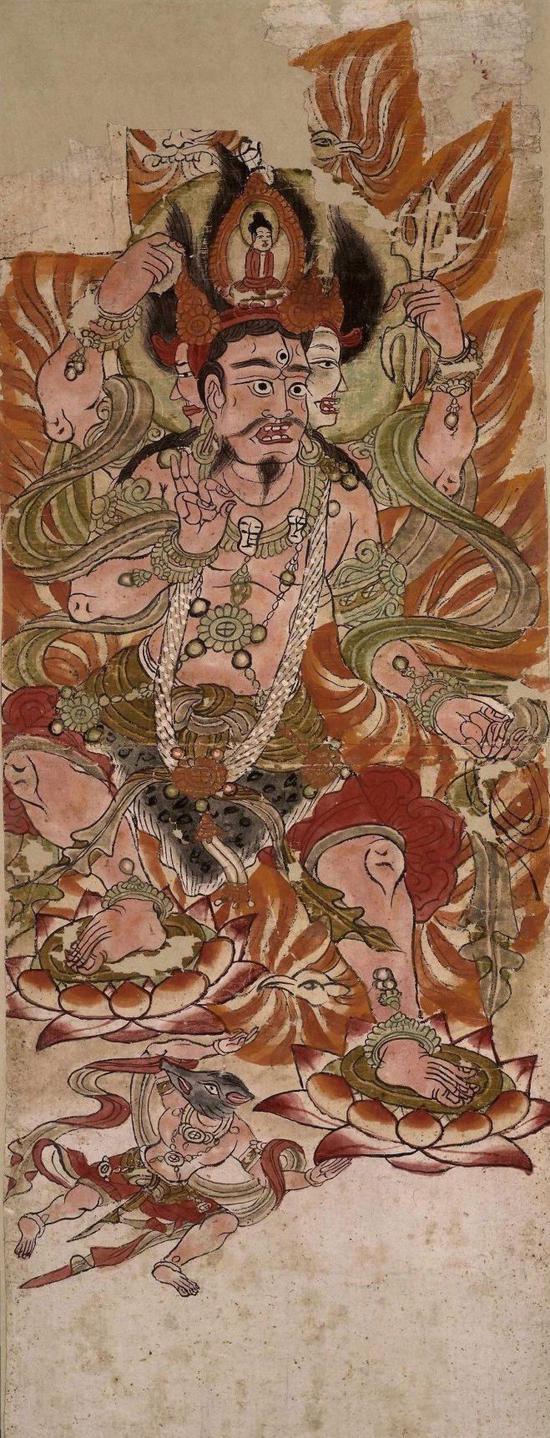 佛教慧日艺术:大英博物馆藏 敦煌艺术 9世纪 唐代绢画《乌枢沙摩明王》