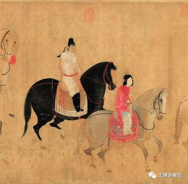 最后一段最热闹,共有六个人五匹马,其中一匹马上坐了一大一小两个人: