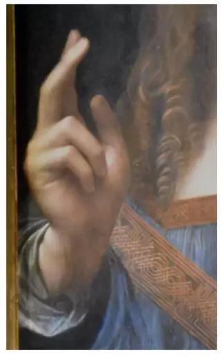 ▲达·芬奇《救世主》的局部细节图