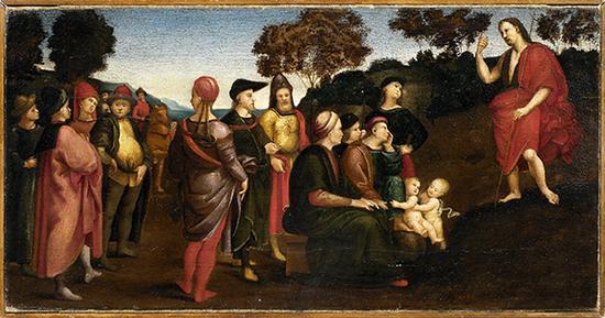 拉斐尔·桑西 意大利 施洗者圣约翰布道 28×53.5cm 布面油画 1505-1509年