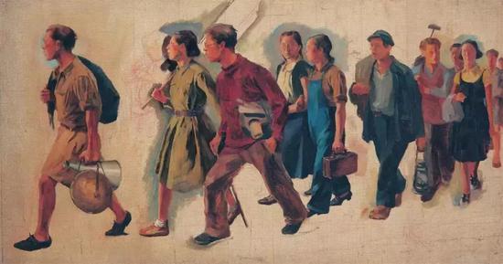 《七七的号角》33cm×61cm 唐一禾 1940年 中国美术馆藏