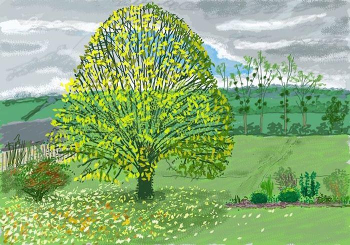 大卫・霍克尼《秋天的大树》(2020年10月30日)