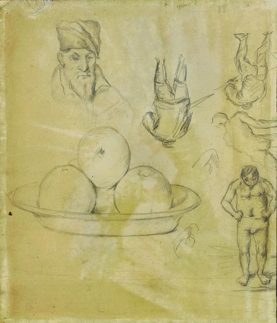 塞尚,《纸上研究:有苹果的静物;弗尔南多·纳瓦雷特肖像;浴者和其他人物》1873-77年