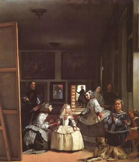 这是画家本人与小公主等人在一起的画像。画面中间镜子里的是国王与皇后。