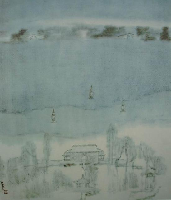 童中焘,《一湖寒玉》,56x49cm,1993年