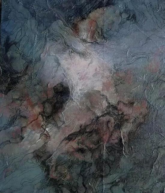 《花非花》布面综合材料 50x60cm2018 No3。