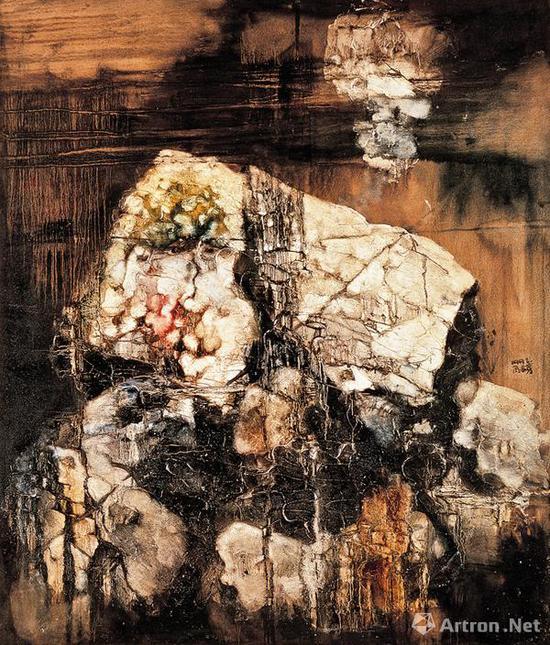 周春芽《山石图》布面油画 149.5×129cm 1992年 中国嘉德成交价:4370万元