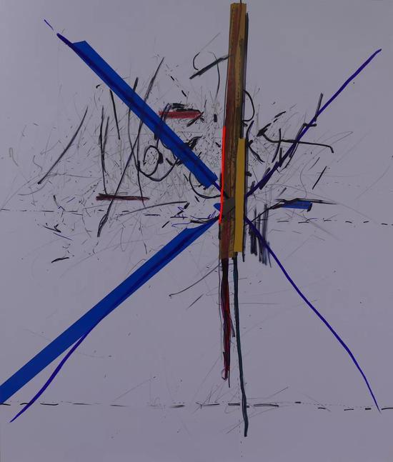 Ж,160 x 125cm,tape and marker on plastic塑料上胶带和马克笔,2018