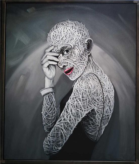 罗杰油画作品 《囚_一个女士的肖像》120x100cm arcylic on canvas 2016