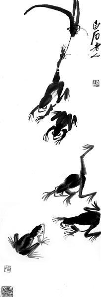 《群蛙图》:101cm×34.5cm 纸本墨笔 1948 徐悲鸿纪念馆藏 题款:白石老人 钤印:老白(白文)吾年八十八(朱文) 容颜减尽但余愁(朱文)